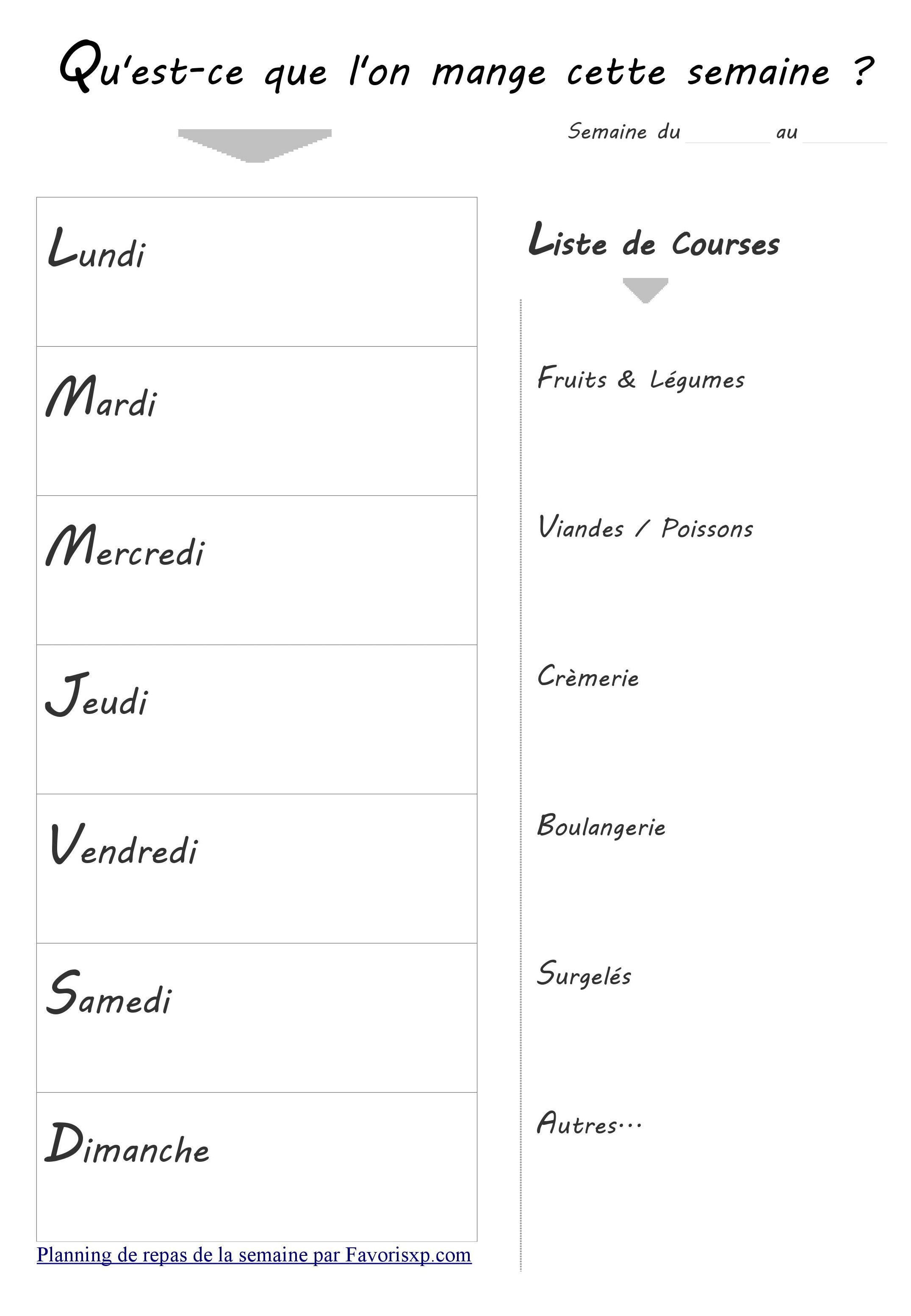 Bevorzugt Modèles de planificateurs de menus imprimables en mode portrait II48