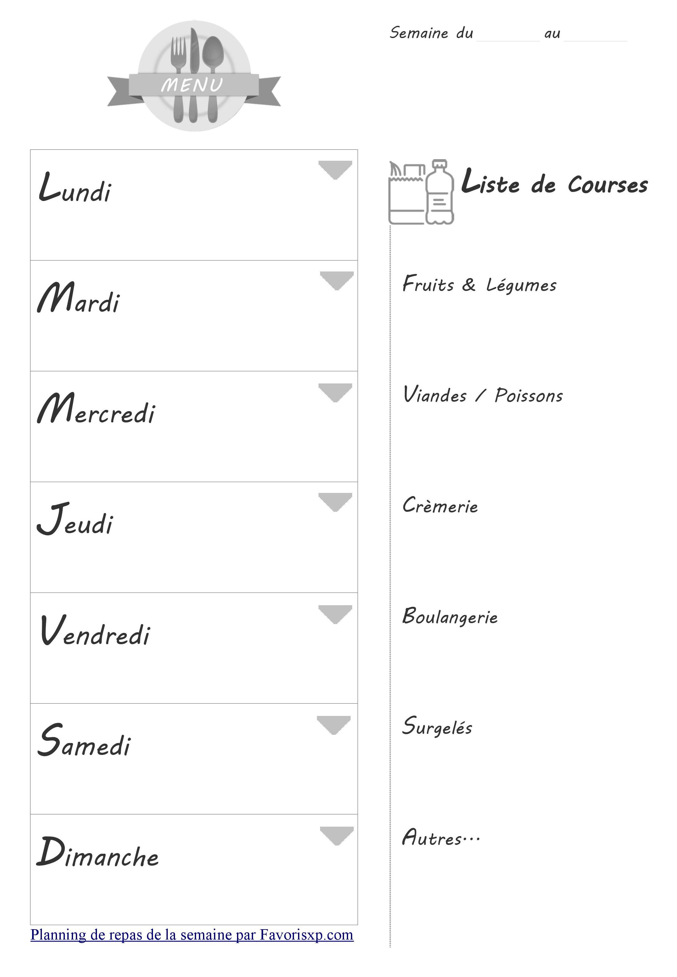 menu vierge imprimer gratuitement planning des repas pdf. Black Bedroom Furniture Sets. Home Design Ideas