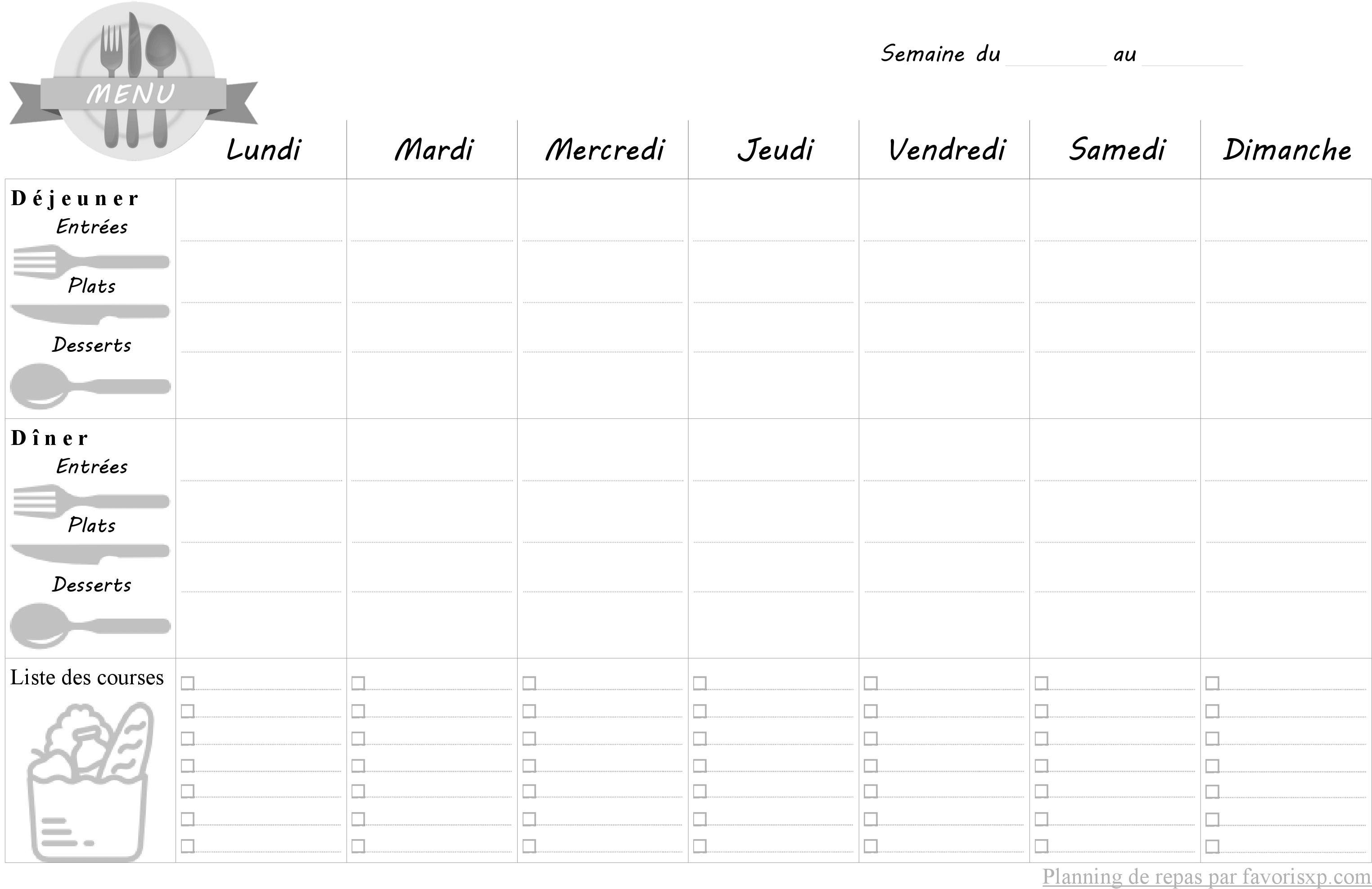 Planification des repas de la semaine à imprimer 2017