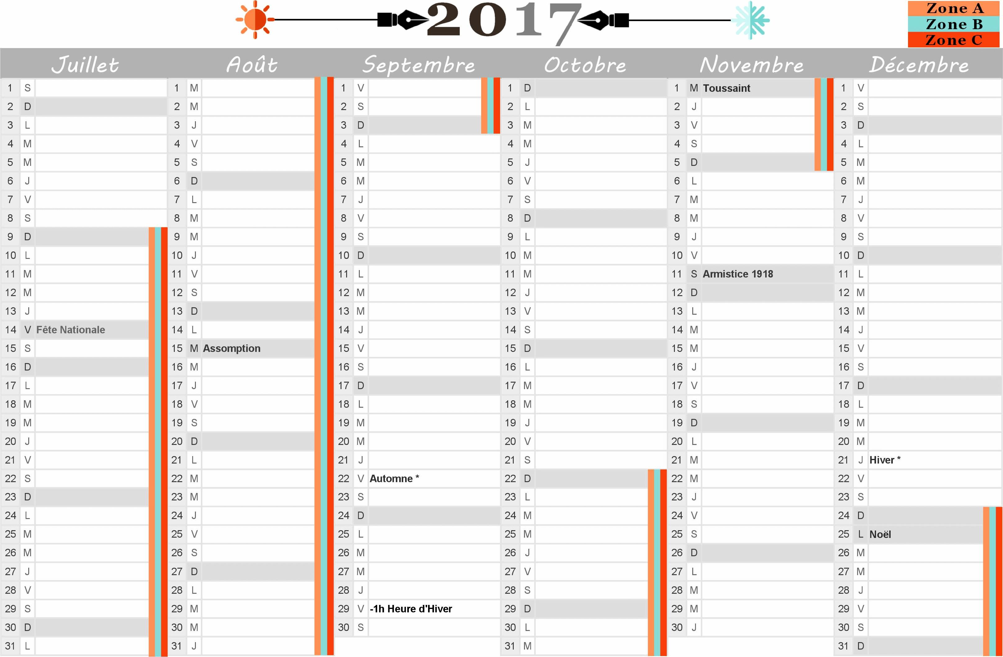 Interesting calendrier 2017 avec jours feries vacances - Calendrier design ...