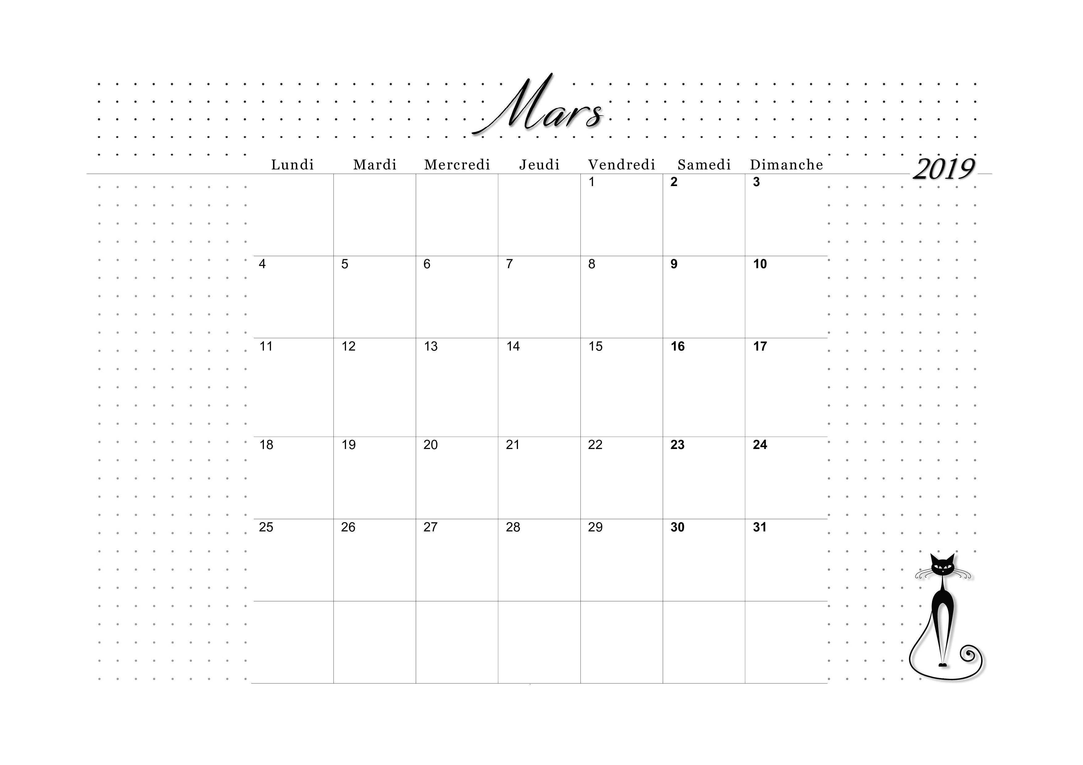 Calendrier De Mars 2019.Calendrier 2019 Mensuel A Imprimer Les Imprimables De Favorisxp
