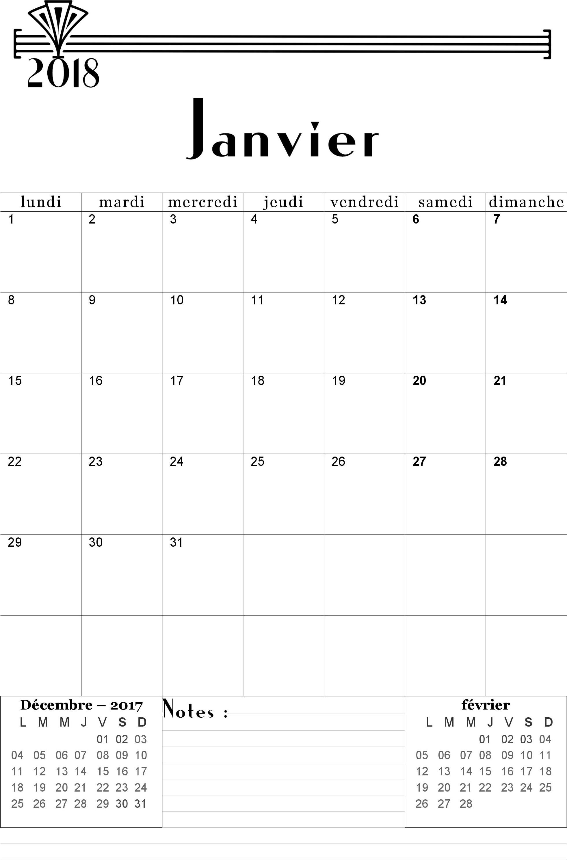Extrêmement Calendrier 2017-2018 mensuel à imprimer gratuitement - Calendriers  QK28