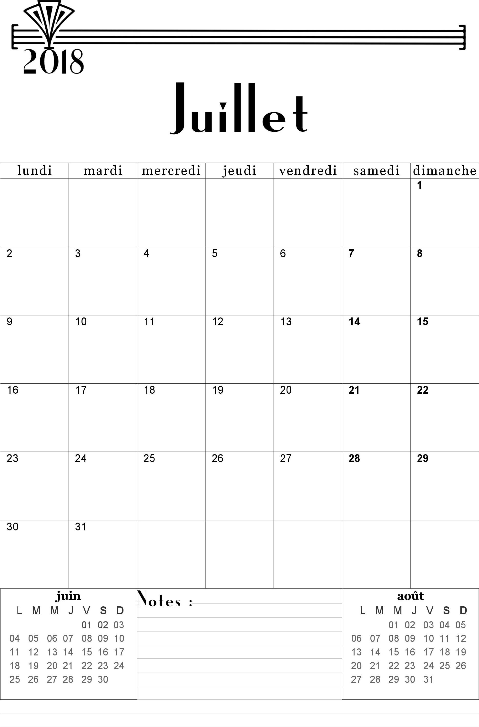 modele planning juillet 2018