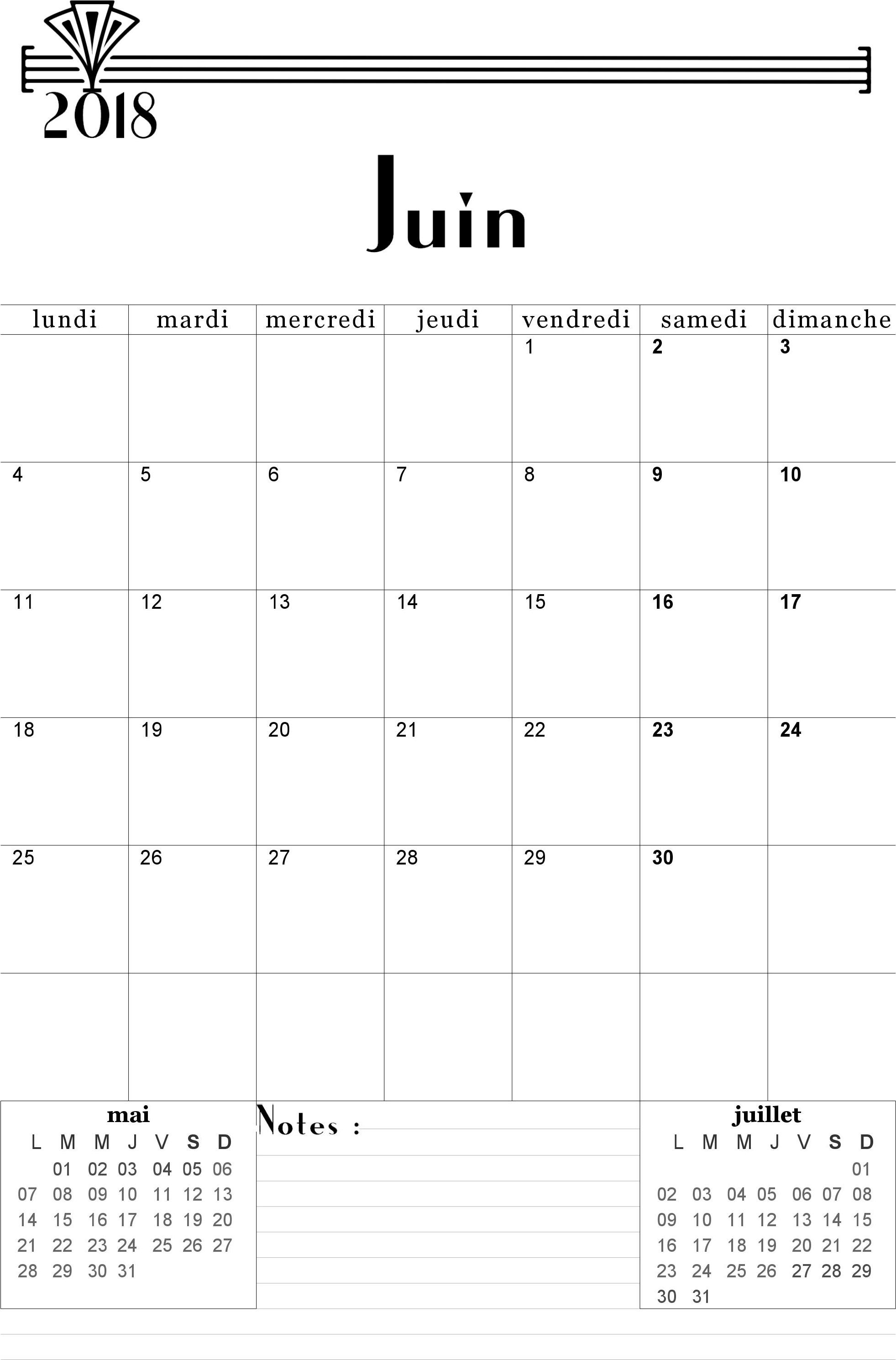 Calendrier 2017-2018 mensuel à imprimer gratuitement ...
