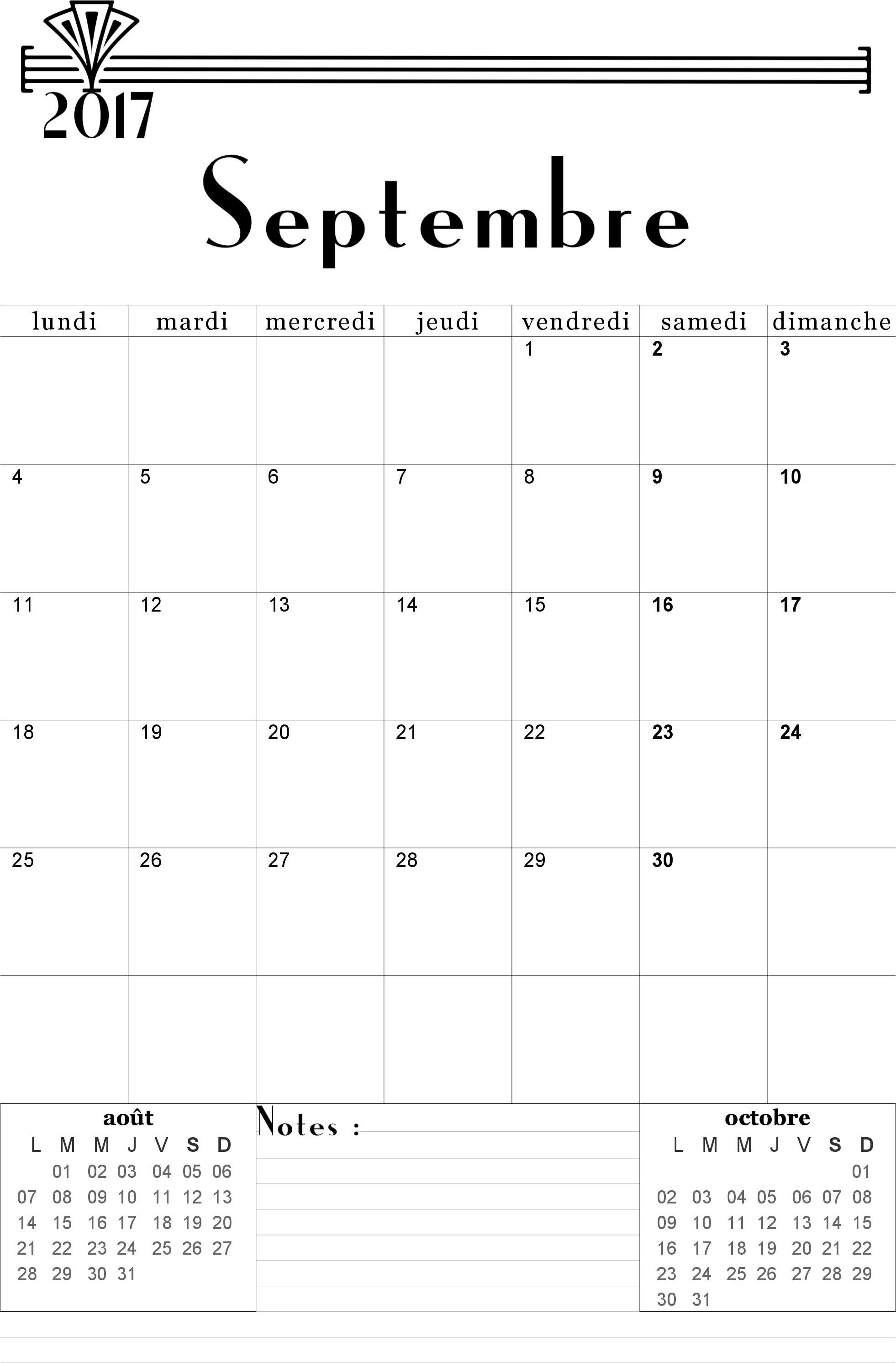 Calendrier 2017 2018 Mensuel à Imprimer Gratuitement