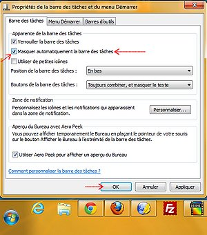 Afficher masquer la barre des t ches de windows 7 for Affichage fenetre miniature windows 7